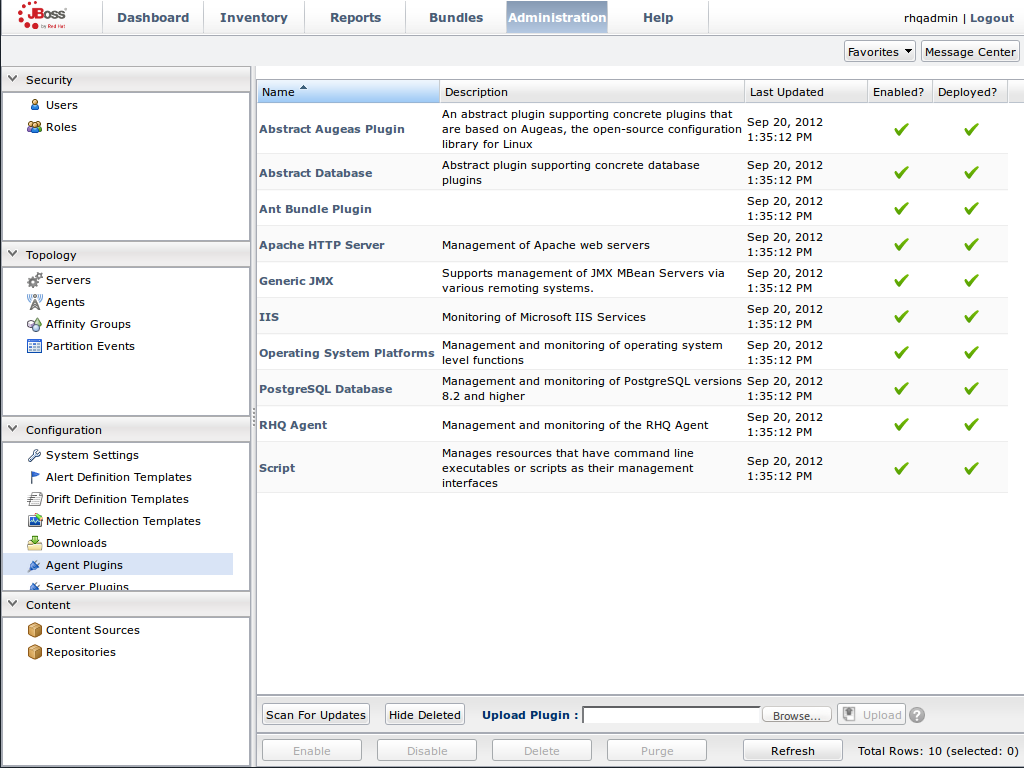 JBoss Operations Network Console for JBoss Data Grid