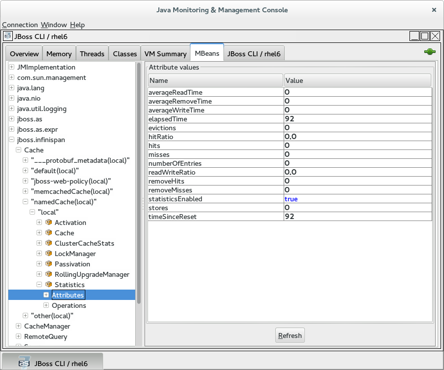 Viewing cache attributes in JConsole
