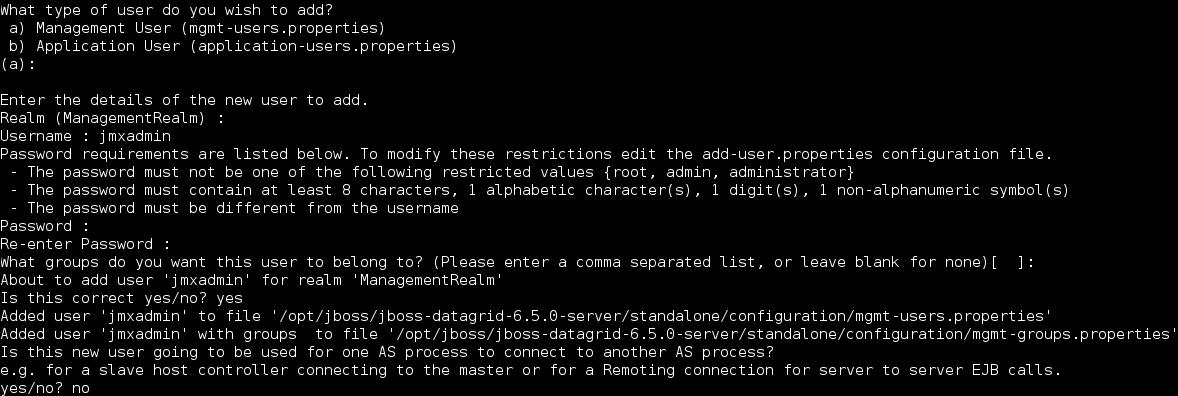 Example add-user.sh execution on JBoss Data Grid