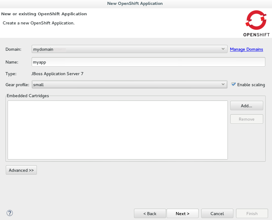 Completed new OpenShift application fields