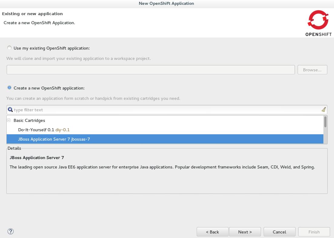 JBoss Application Server 7 selected as the Basic Cartridge