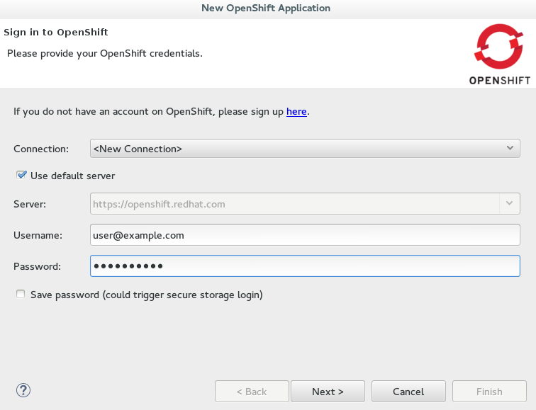 Completed OpenShift Online connection fields