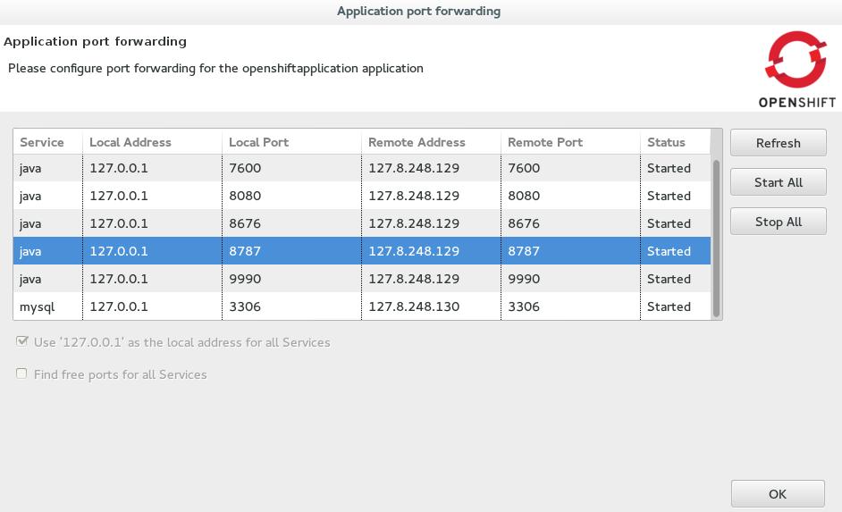The Application port forwarding window