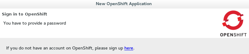 Link to sign up for a new OpenShift Online user account