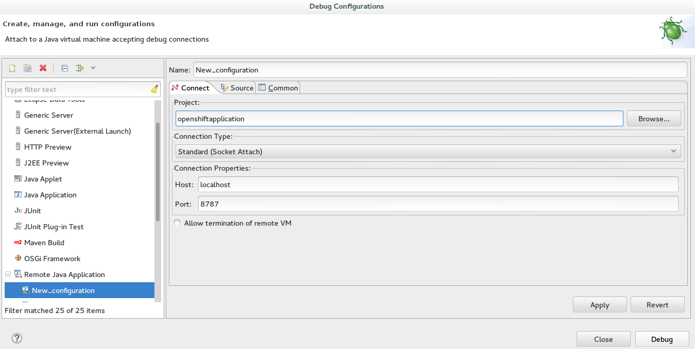 Configuration completed for the OpenShift application