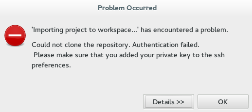 Problem Occured Window Displaying the Error Message
