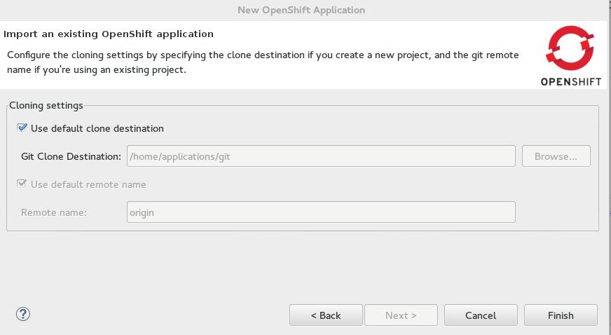 Default Git clone destination check box selected
