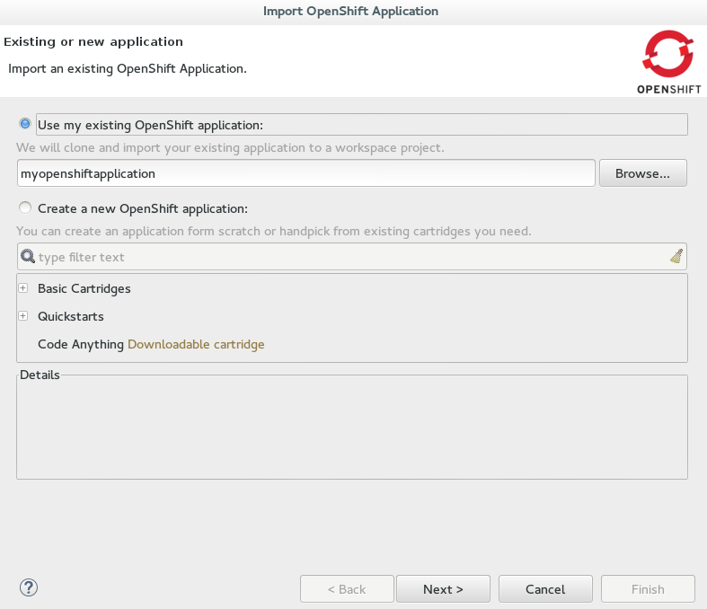 Existing OpenShift Online Application Information Provided