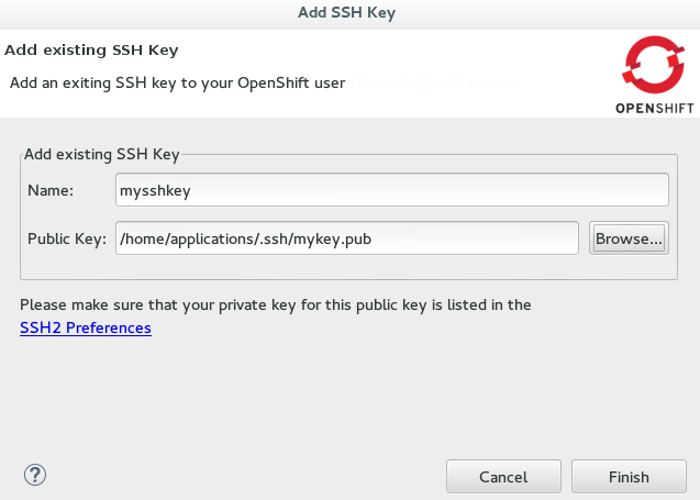 Completed Fields for Adding an Existing SSH Public Key