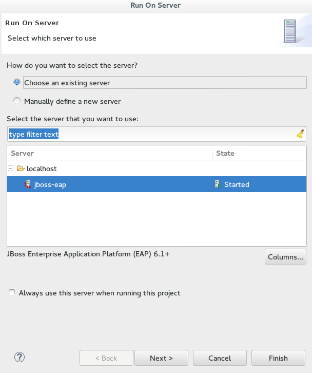 Select the runtime server to run the application.