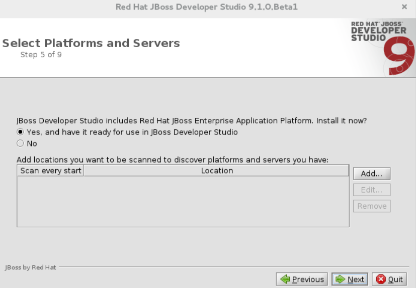 Select Platforms and Servers Window Confirming Installation