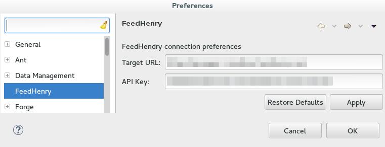 Setting Preferences for FeedHenry