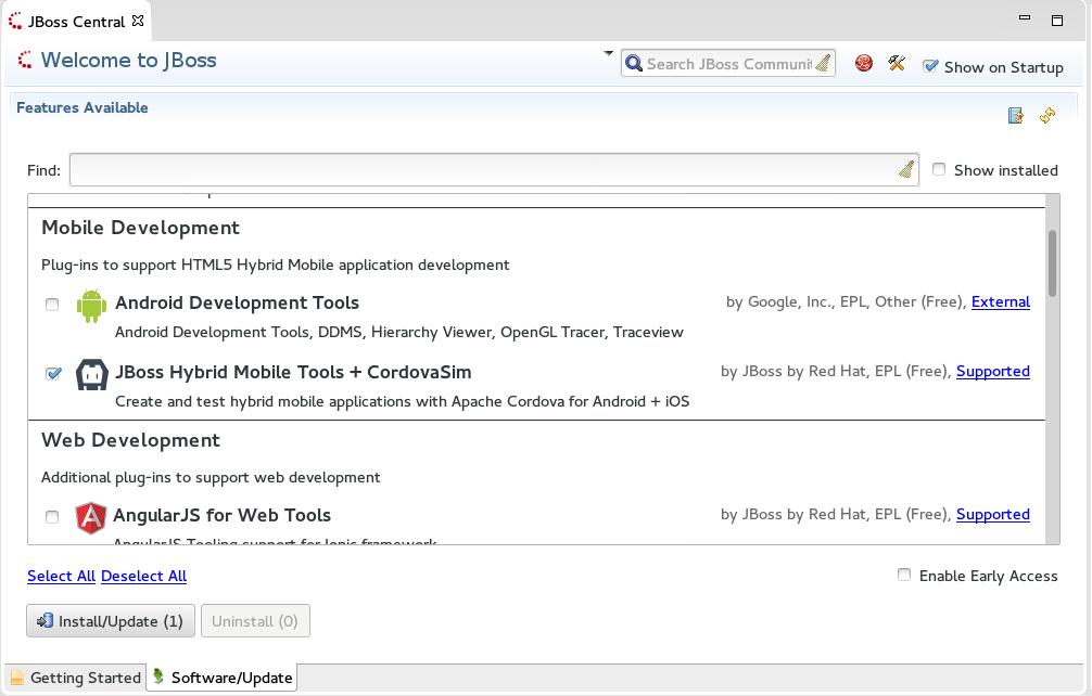 Hybrid Mobile Tools + CordovaSim Check Box Selected