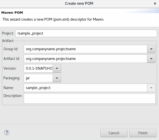 Create a New Pom Descriptor