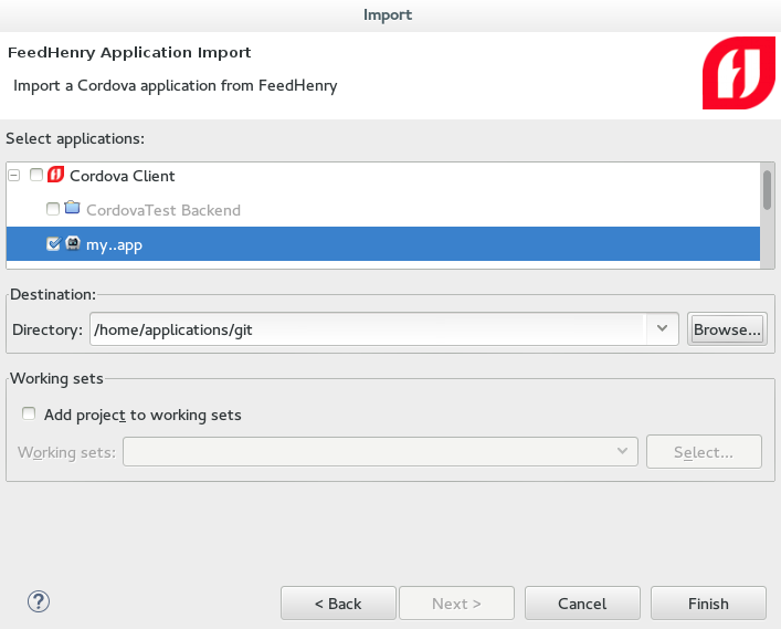 Selecting an Application to be Imported