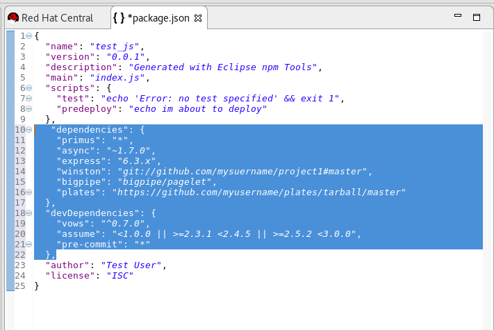 Adding Dependencies to the package.json File