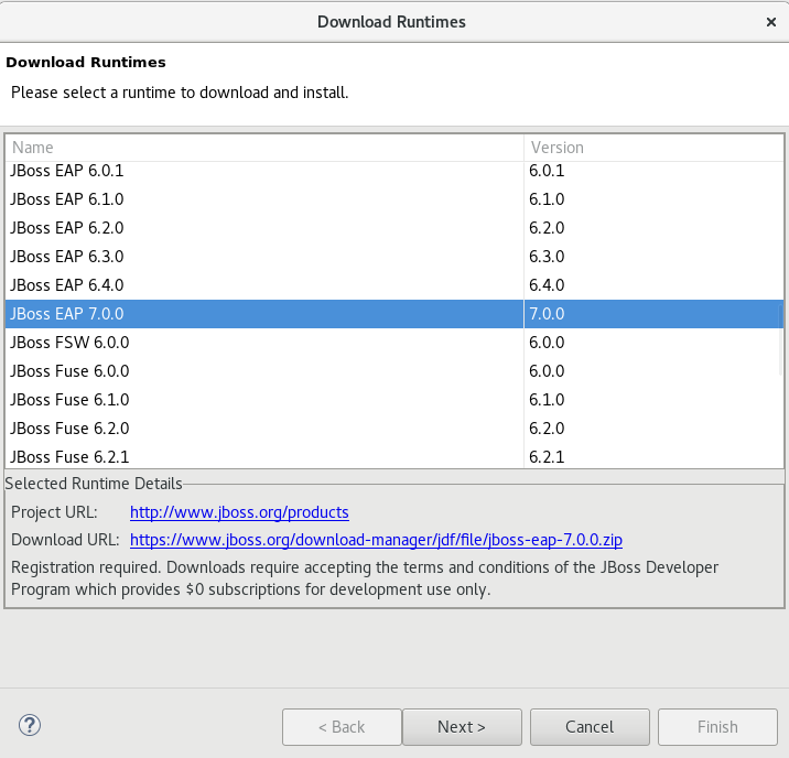 Download Runtimes Window Listing Available JBoss EAP Versions