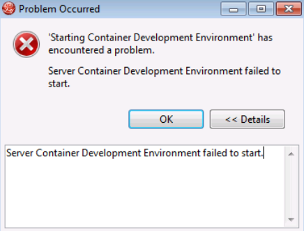Server Container Development Environment failed to start Error