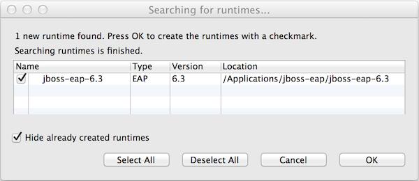 Window showing JBoss Enterprise Application Platform 6.x found by Runtime Detection.