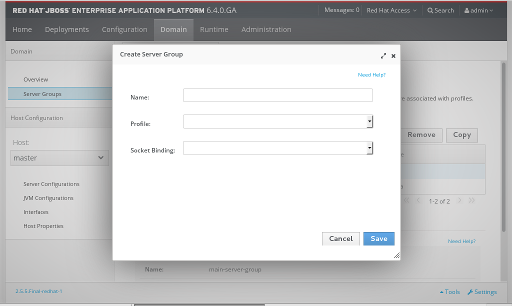 The Create Server Group dialog. A server with the name new-server-group will be created, based on the main-server-group template.