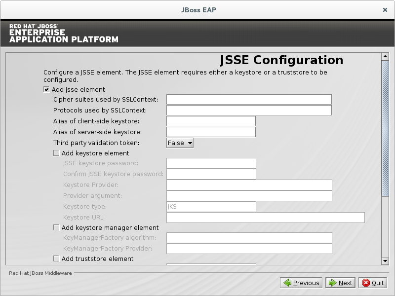 Configure a JSSE security domain element.
