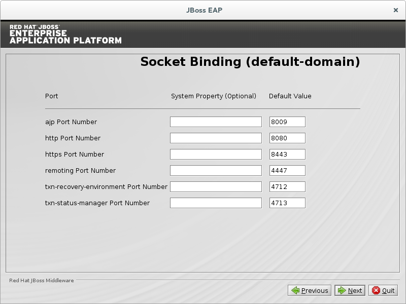 Configure custom socket bindings for default domain mode.