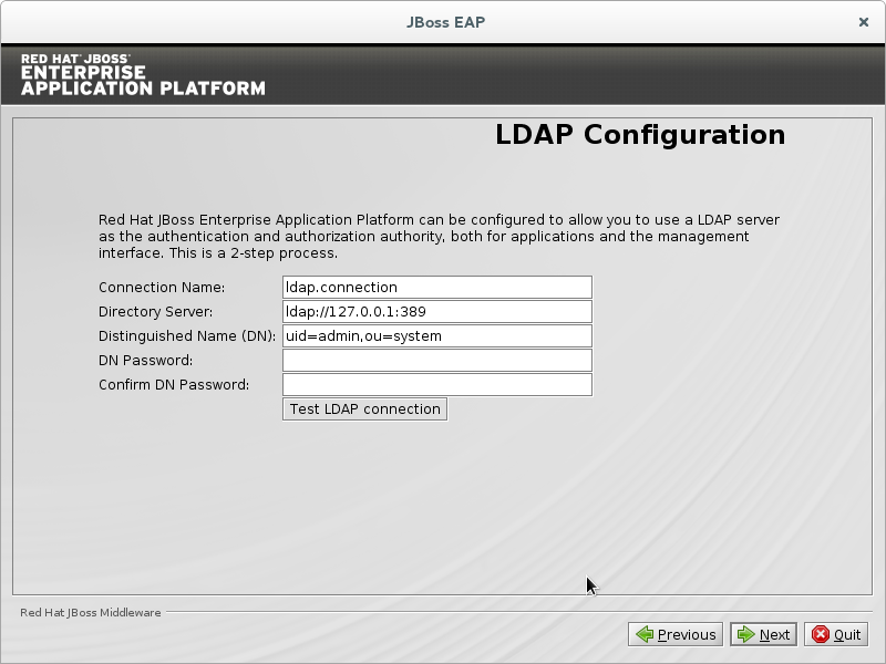 Configure the LDAP server as the authentication and authorization authority for applications and the management interface.