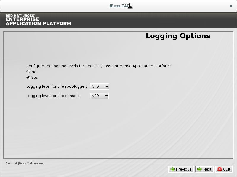 Choose Yes to configure logging level.