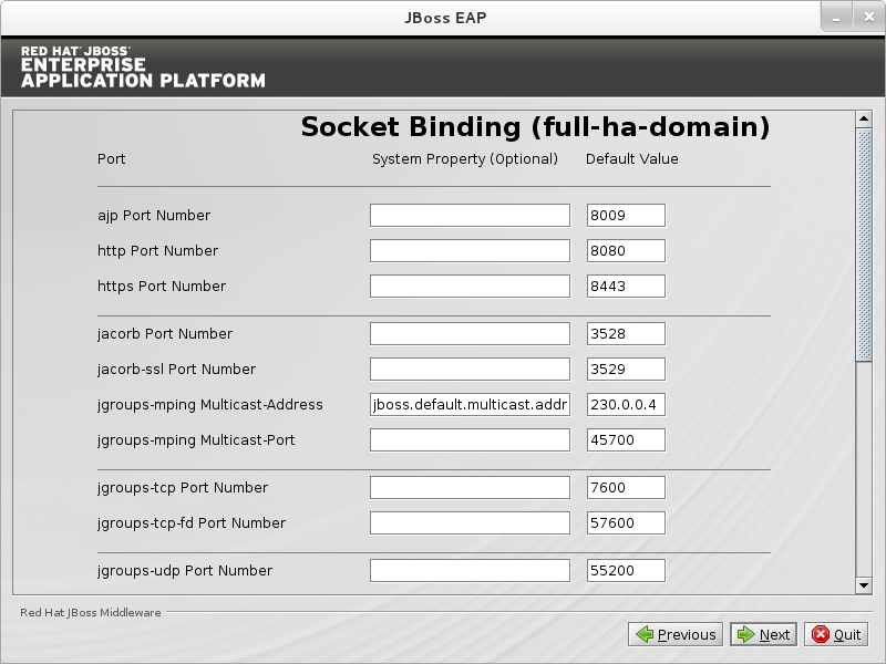 Configure custom socket bindings for full HA domain mode.