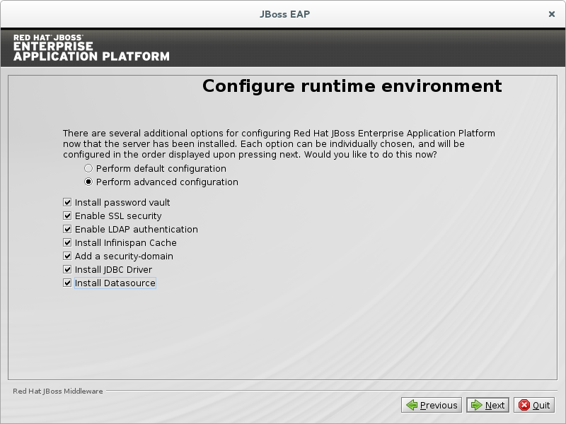 JBoss EAP Installation Program Configure Runtime Environment - Advanced