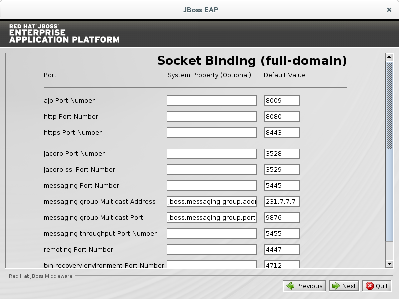 Configure custom socket bindings for full domain mode.