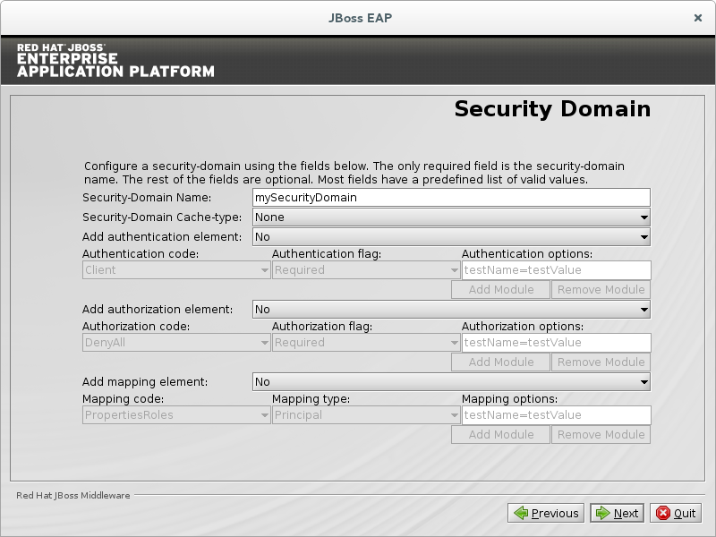 Configure a security domain.