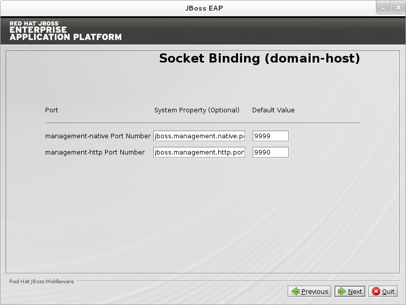 Configure custom socket bindings for the domain host.