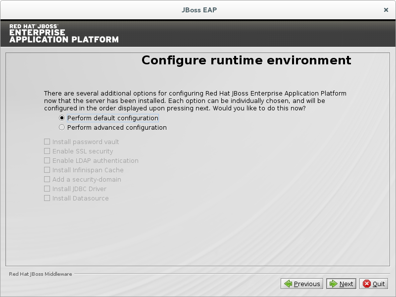 JBoss EAP Installation Program Configure Runtime Environment - Default