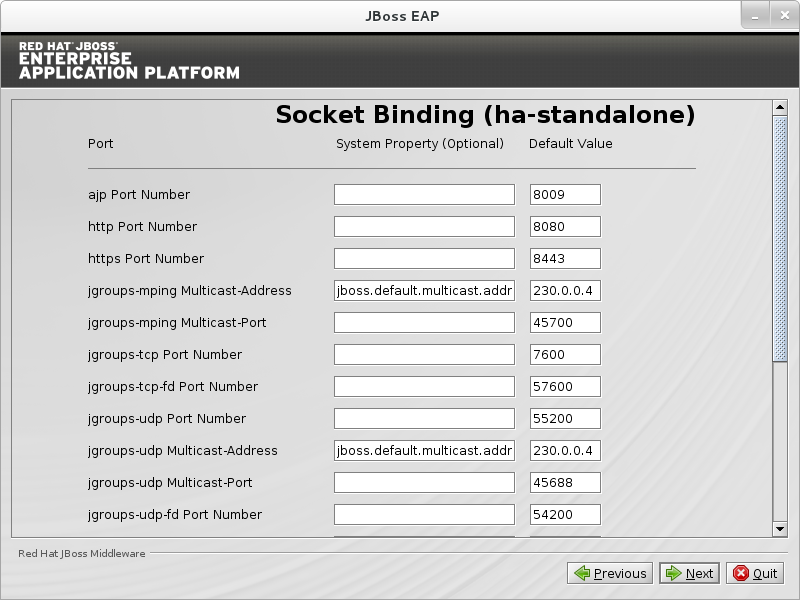 Configure custom socket bindings for standalone HA mode.