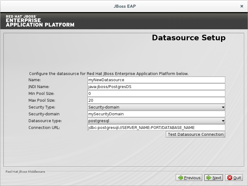 Configure the datasource for the JDBC Driver.