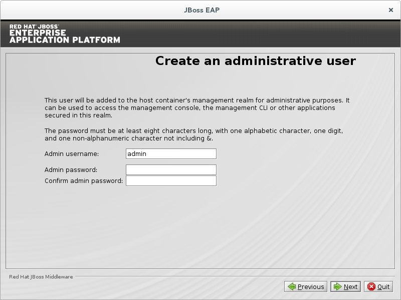 Create an administrative user.