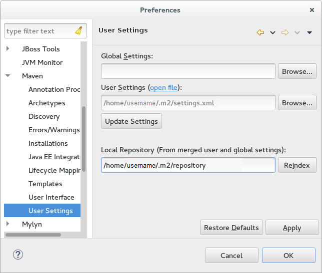 settings.xml for maven download