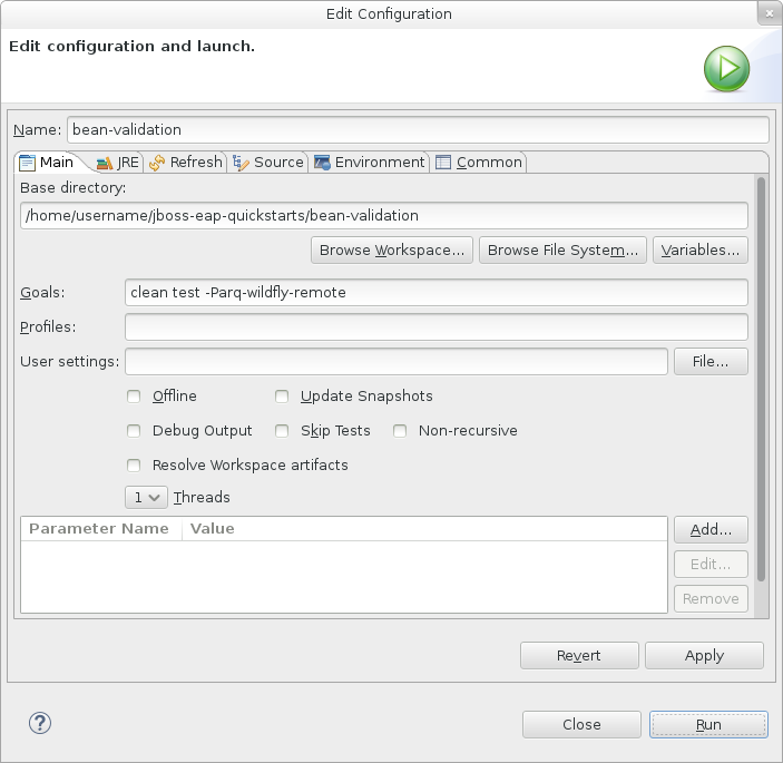 The *Edit Configuration* window.