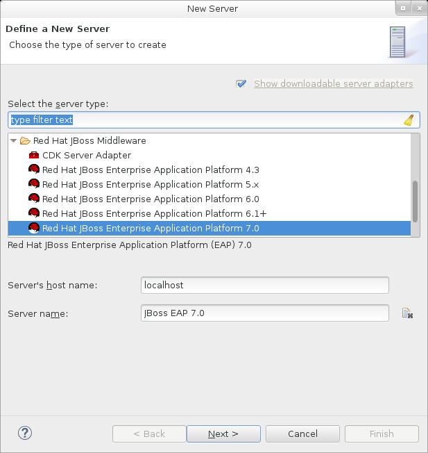 The *Define a New Server* window.