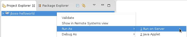 The *Run As* -> *Run on Server* screen capture.