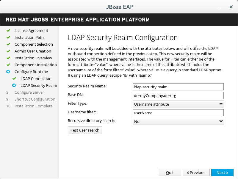 JBoss EAP Installer - LDAP Security Realm Configuration Screen