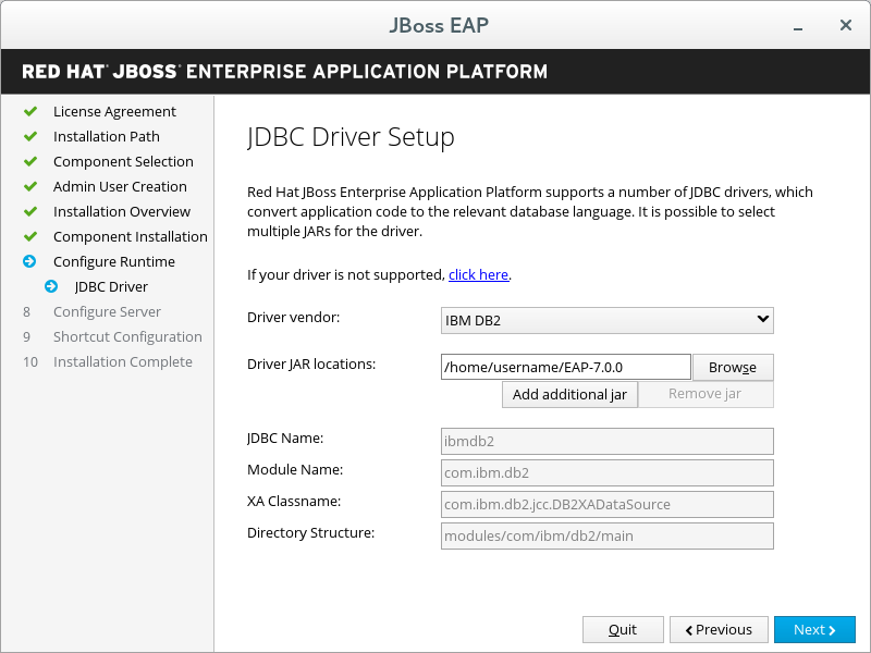 JBoss EAP Installer - JDBC Driver Setup Screen