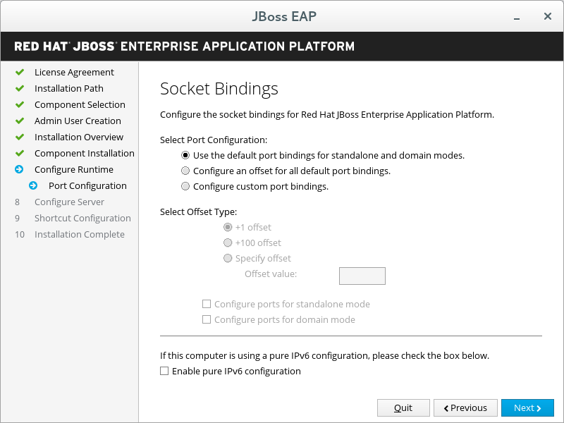 JBoss EAP Installer - Socket Bindings Screen