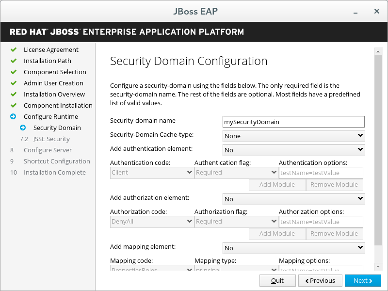 JBoss EAP Installer - Security Domain Configuration Screen