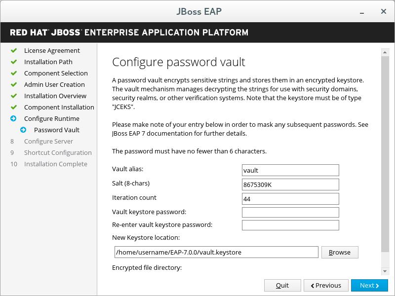 JBoss EAP Installer - Configure Password Vault Screen