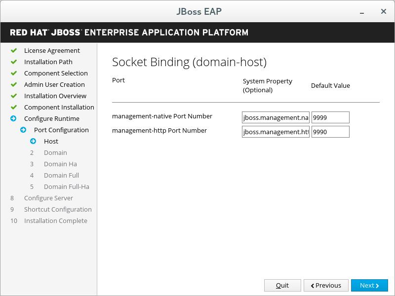JBoss EAP Installer - Custom Socket Bindings for Domain Configurations Screen