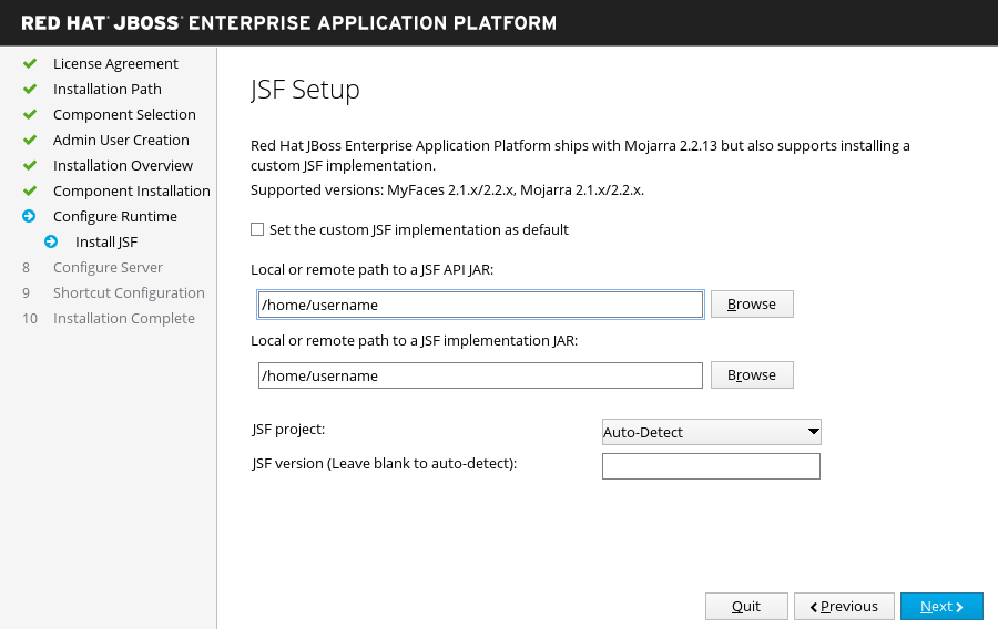 JBoss EAP Installer - JSF Setup Screen