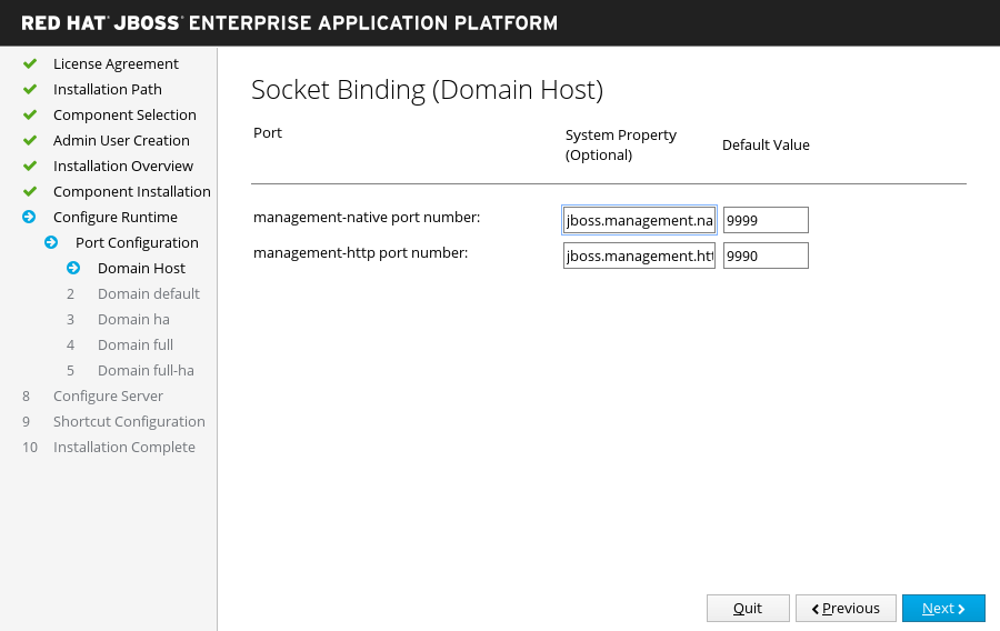 JBoss EAP Installer - Custom Socket Bindings for Domain Configurations Screen
