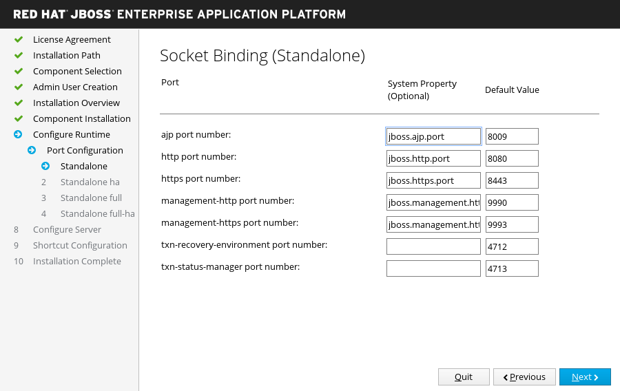 JBoss EAP Installer - Custom Socket Bindings for Standalone Configurations Screen